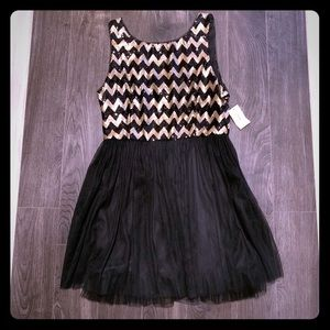 Black and gold sequined top dress